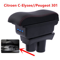 For Citroen C Elysee Elysee Peugeot 301 armrest box central Store content Storage box with cup holder ashtray USB interface