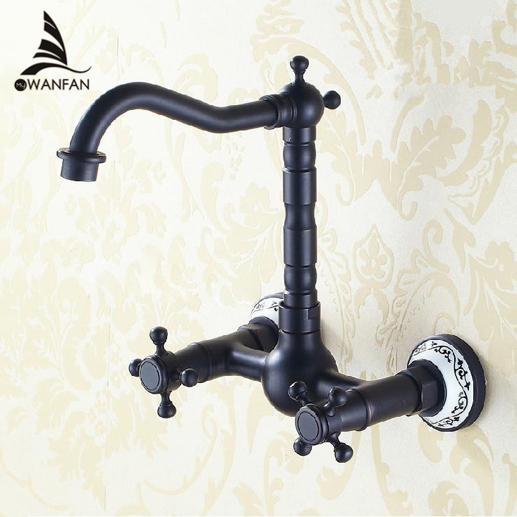 Wall Mount Oil Rubbed Bronze Black Bathroom Basin Sink Faucet Bathtub Mixer Tap wall Double Handle Free Shipping SY-056R short double handles bathtub torneira wall mounted oil rubbed black bronze 97114 bathroom basin sink tap mixer faucet