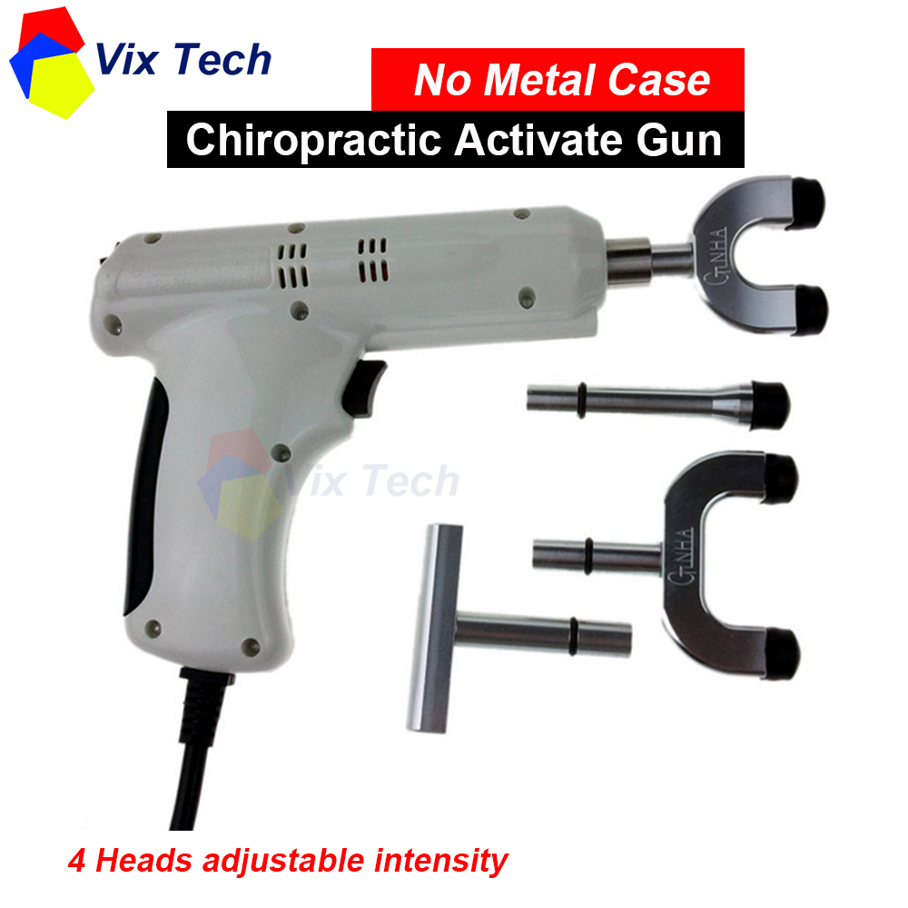 Spine Chiropractic Activator Gun / Adjusting Instrument Correction Massager impulse 4 Heads adjustable intensity (No metal case)