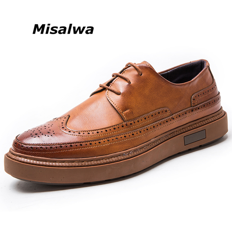 Misalwa Hot Men Brogue Loafers Leather Casual Shoes Lace up Thick Height Increase Sole Leisure Men