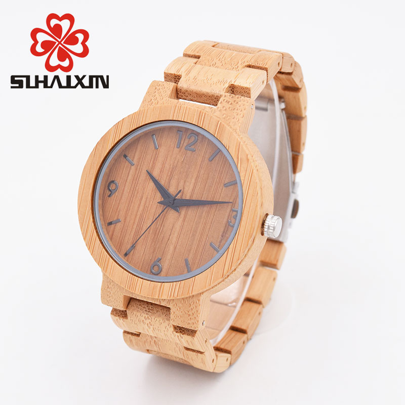 SIHAIXIN Watch Wood Male High Quality Bamboo Quartz Watches Man With Red Face Case Nature Wooden Clock Men As Top Brand Gift 019z luxury clock gift full wooden watches man creative sport bracelet analog nature bamboo quartz wristwatch male wood watch