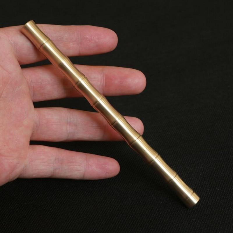 Tipo de bambú de latón puro manual de metal neutral firma pluma EDC herramientas táctica pluma de cobre práctico bolsillo herramientas de autodefensa