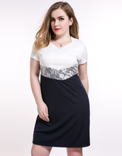 Cute Ann Women's Sexy V-neck Plus Size Lace Cocktail Party Dress White And Blue Semi Formal Casual Spring Dress
