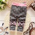 2016 bebé de la manera pantalones lindos del bowknot de impresión infantil ropa del niño para el otoño invierno gruesa pantalones del bebé