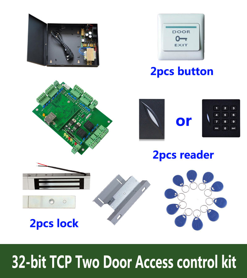 32 bit access control kit,TCP two door access control+power+180kg magnetic lock+ZL bracket +ID reader+button+10 ID tag,:kit T205