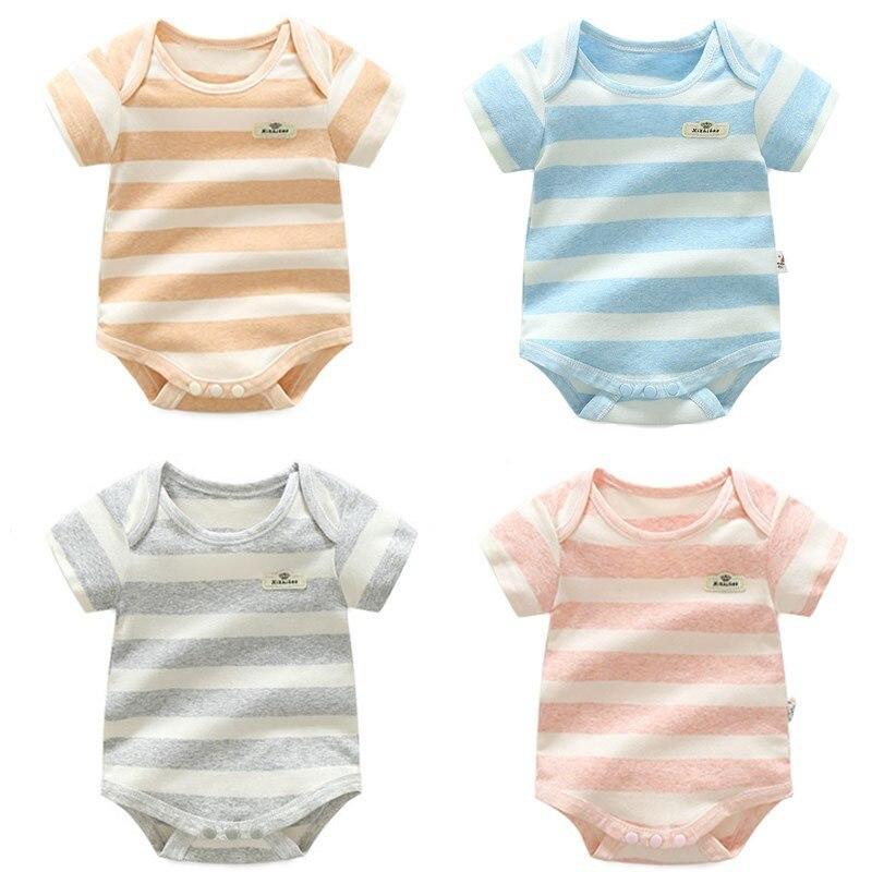 8a2c9e7046301 100% Cotton 4colors Baby Bodysuit Infant Jumpsuit Overall Short Sleeve Body  Suit Newborn Boy Girl