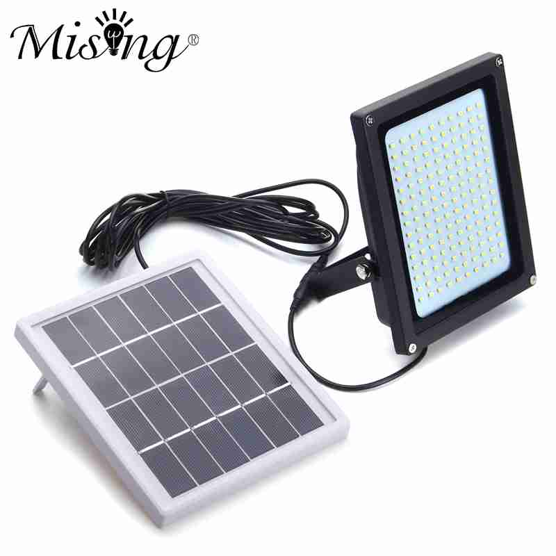 Mising 150 LED Floodlight Solar Light 3528 SMD Solar Powered LED Flood Light Sensor Outdoor Garden Security Wall Lamp 8W mising remote control solar powered 30 led solar light bulb floodlight outdoor garden light emergency camping lamp