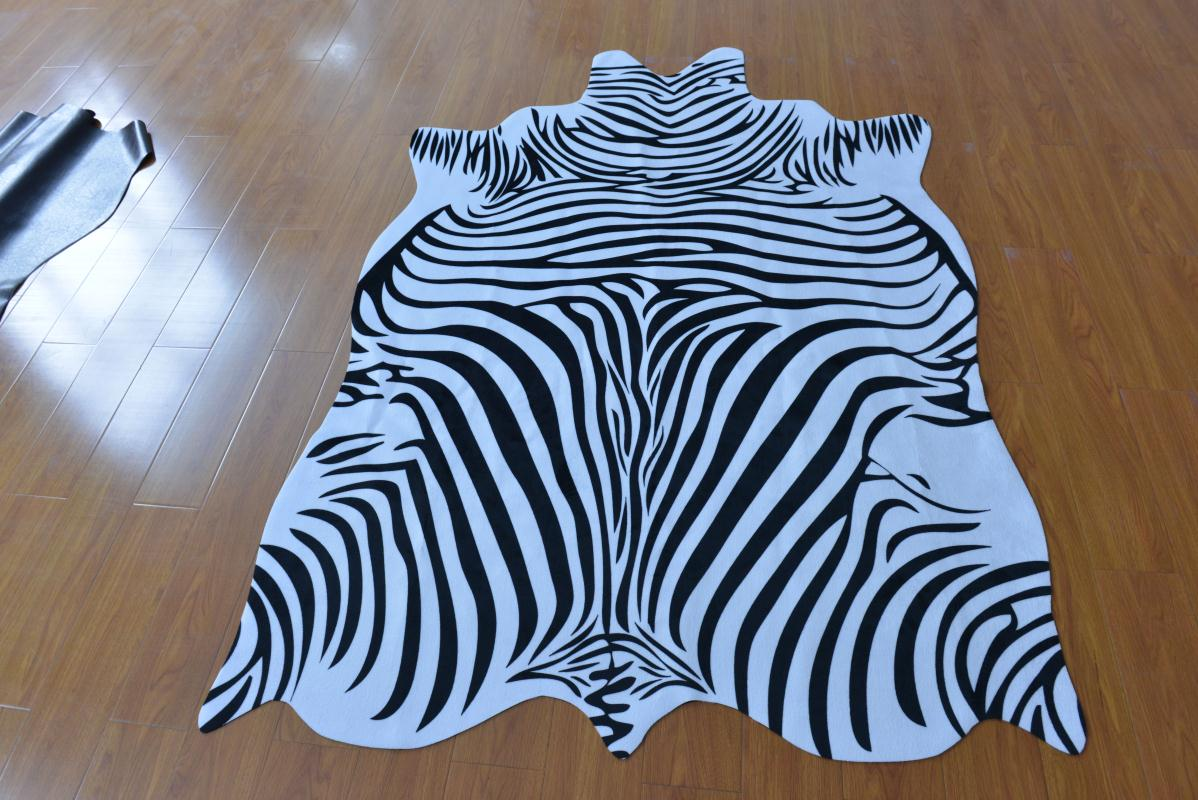 High quality black leather rugs leopard tiger rugs home animal pad imitation leather zebra stripes white natural shape leather