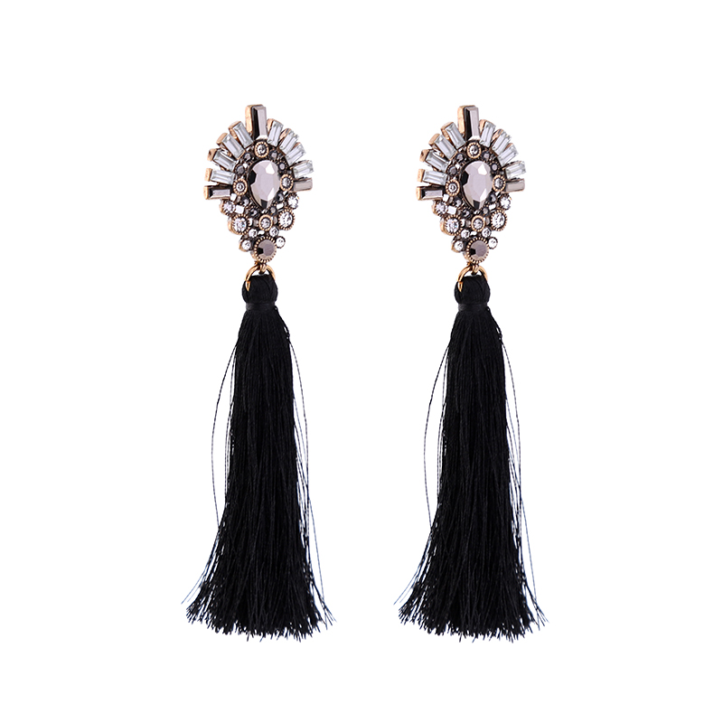 Transparent Acrylic Floral Black Earrings Women Ear Jewelry 2017 ali express Ethnic Long Fringe Tassel Earrings