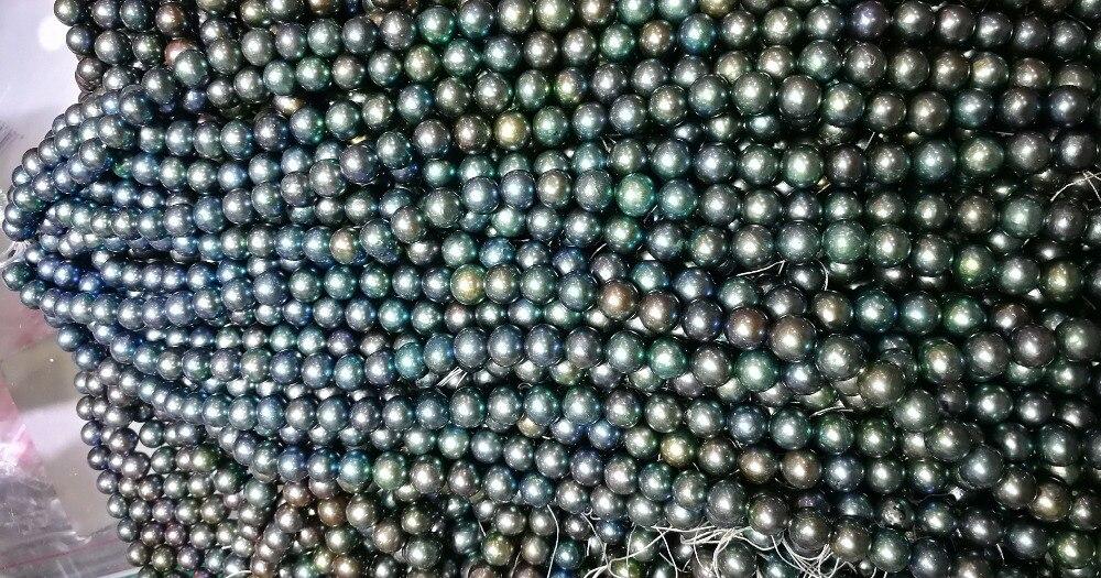 Одна нить 10x11 мм зеленый коричневый серый черный синий цвета смешанные жемчужины натуральный пресноводный жемчуг свободные бусины 35 см/14,5 д