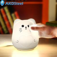 AKDSteel Cute Animal Silicone Nightlight Piglet Kitten Sensitive Tap Control LED USB Charged Nursery Light Baby