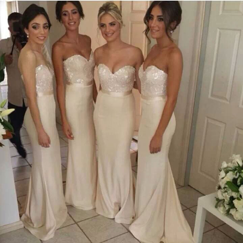 Exquisite Cream Long Bridesmaid Dress With Mermaid -4353