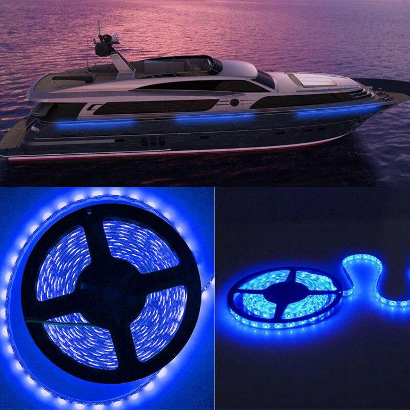 Ikvvt 5 м Водонепроницаемый синий 12 В 5050 300LED 60led/м автомобиля Гибкая свет лампы