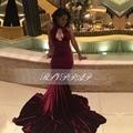 Elegante longo vestidos de baile 2017 sexy alta neck trumpet black girl backless sereia velvet africano borgonha prom dress