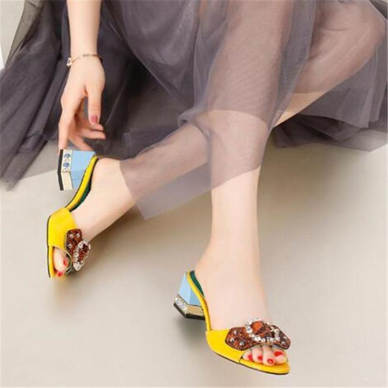 Шлепанцы с открытым носком, украшенные стразами и бантом, женская кожаная обувь на толстом квадратном каблуке, новая модная летняя женская обувь - 6