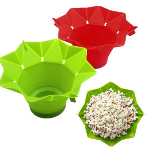 Bucket Popcorn-Maker Microwave Silicone Kitchen-Tool Green DIY Red Fold