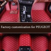 Leather car floor mats for PEUGEOT 206 207 207CC 307 307SW 308 308CC 308GT 308SW 407 408 508 508SW 607 3008 4007 4008 5008 RCZ