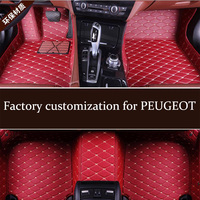 Leather car floor mats for PEUGEOT 206 207 207CC 307 307SW 308 308CC 308GT 308SW 407 408 508 508SW 607 3008 4007 4008 5008 RCZ