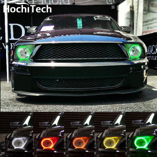 For Ford Mustang Rgb Led Headlight Halo Angel Eyes Kit Car Styling Accessories 2005 2006 2007