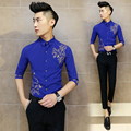 Mens Floral Dress Shirt 2016 Summer Camisa Social Masculina Slim Fit Blue White Black Prom Party Wedding Dress Shirt Men M-2XL