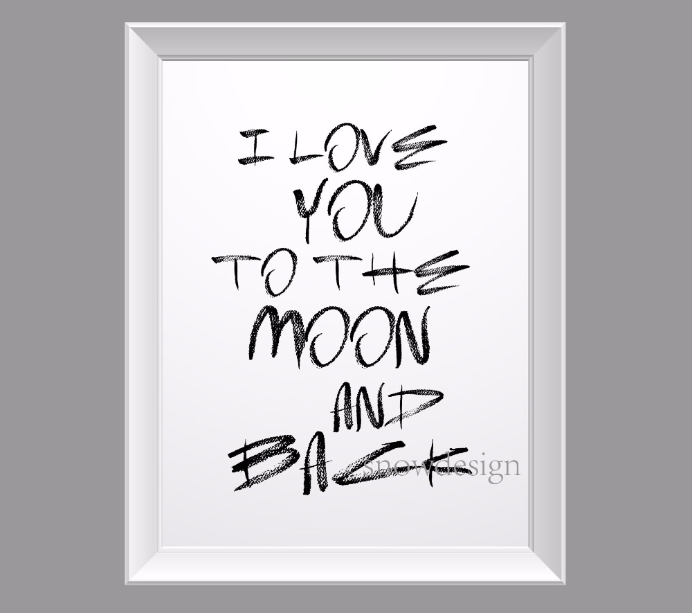 Quote I Love You To The Moon And Back I Love You To The Moon And Back Quote Canvas Wall Art Poster Print