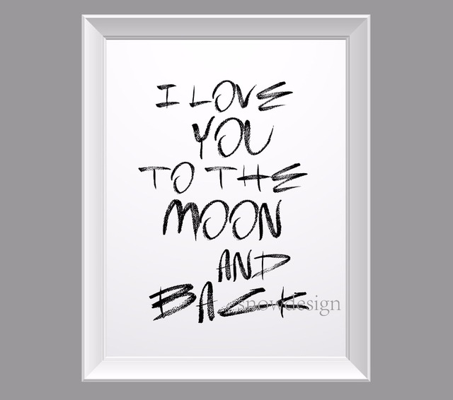 I Love You To The Moon And Back Wall Art aliexpress : buy i love you to the moon and back quote canvas