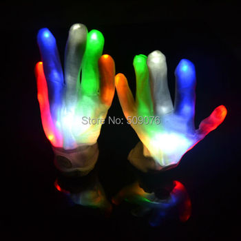 20pcs/10pairs black LED Flash Gloves Colorful Flash Finger Light Glove Christmas Halloween Party Decoration Novelty Toys
