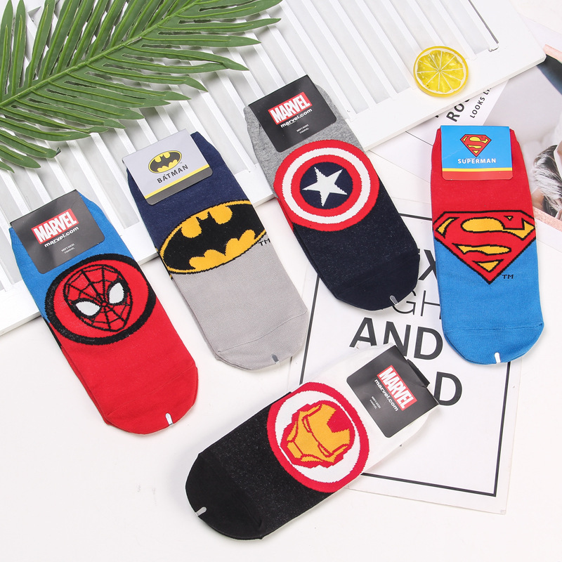 Marvel Superhero Batman   socks   Captain America Spider Man fun novelty men   sock   spring sweat absorption cartoon cotton ankle   socks
