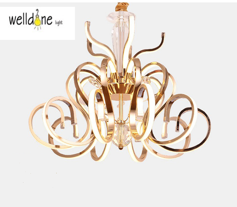 New Modern LED Pendant Light Creative Style Home Decoration Avize Dimmable Acrylic Hanging Lamp with Butterfly Lustre 65cm 75W modern dimmable curved luxury gold chrome led pendant light eelctroplate aluminium soft acrylic lustre cristal led hanging lamp
