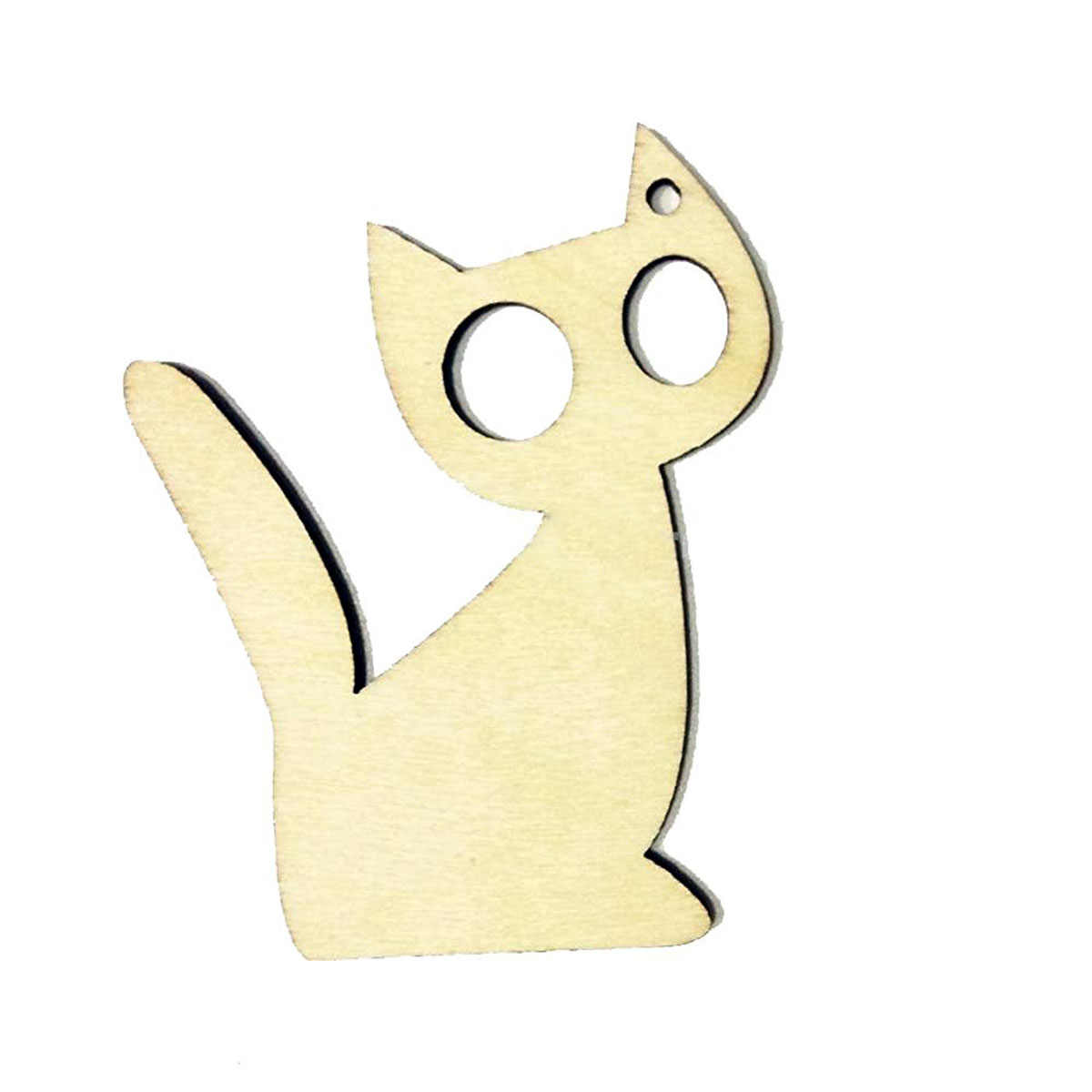 10pcs Wooden MDF Tags Kitten Cat Shape DIY Craft  Party Supplie Birthday Garland Halloween Hanger Decoration With Strings