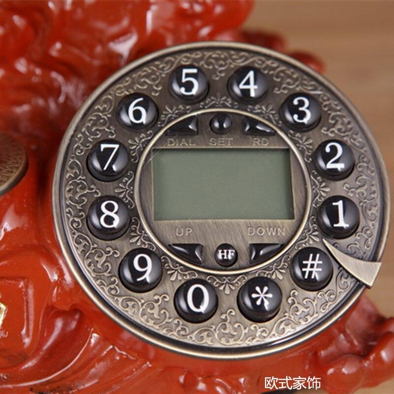 Echte neue villa Europäischen antike retro mode telefon Dekoration home kunst elektrische holz vintage Drehen Zifferblatt anzahl - 4