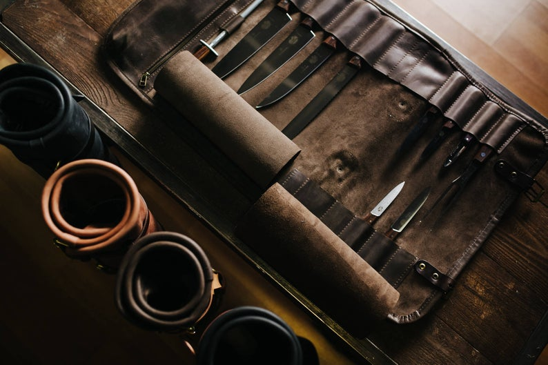 Vegetable Tanned Leather Strap Cowhide Leather Leather Knife Roll Chefs Roll  Chef's Leather Knife Bag Knives Storage Tool Roll