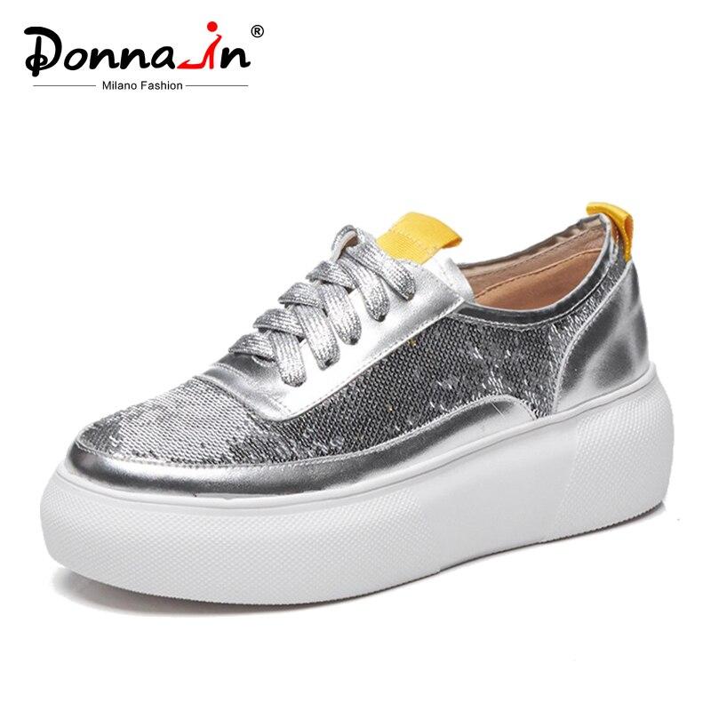 Donna in 2019 nuevo otoño mujer pisos Creepers zapatos de plataforma de cuero genuino con cordones Bling cómodos planos de mujer-in Zapatos planos de mujer from zapatos    1