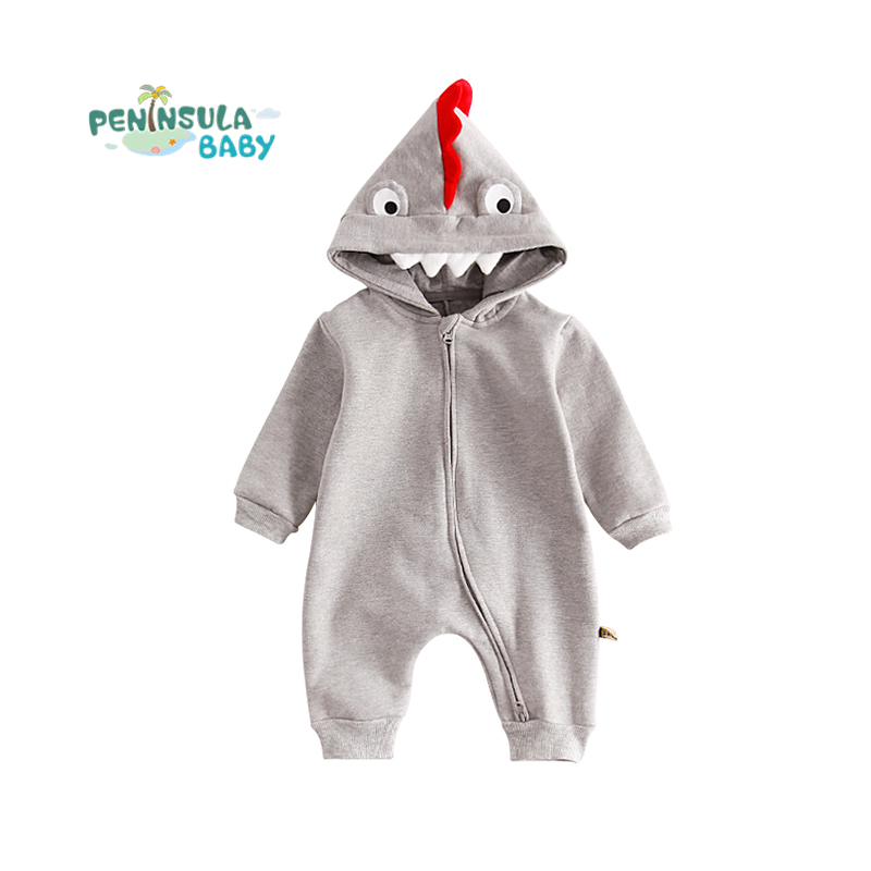 Toddler Winter Baby Rompers Infant Jumpsuits Casual Cartoon crocodile Hooded Girls Boys Long Sleeve Kids Clothes For Newborn winter newborn bear jumpsuit patchwork long sleeve baby rompers clothes baby boys jumpsuits infant girls clothing overall
