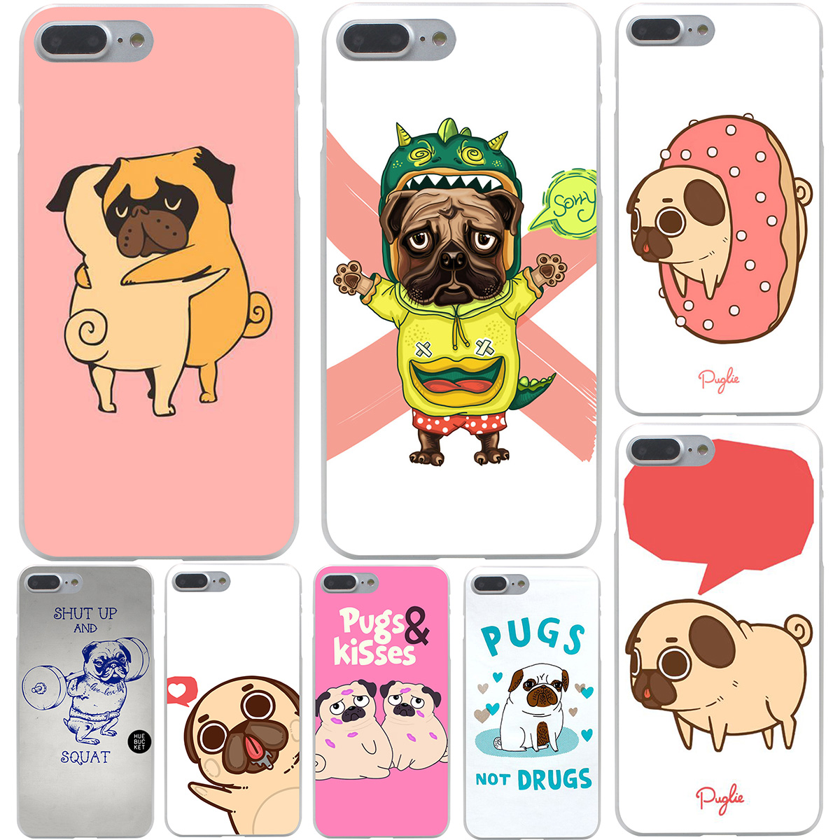 Image result for piper the pug designs Hard Transparent Cover Case for iPhone 7 7 Plus 6 6S Plus 5 5S SE 5C 4 4S