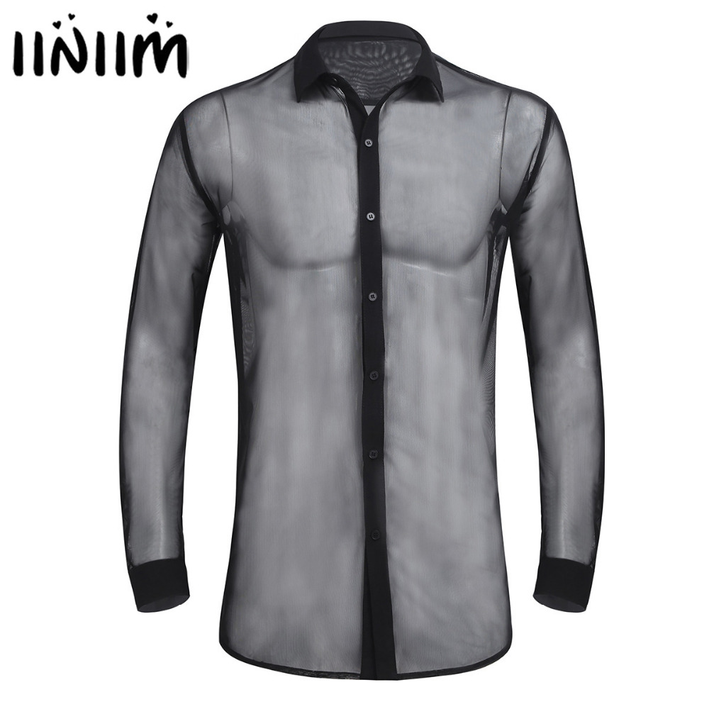 iiniim Mens Fashion See Through Mesh Long Sleeve Clubwear Turn-down Collar Soft Top Shirt