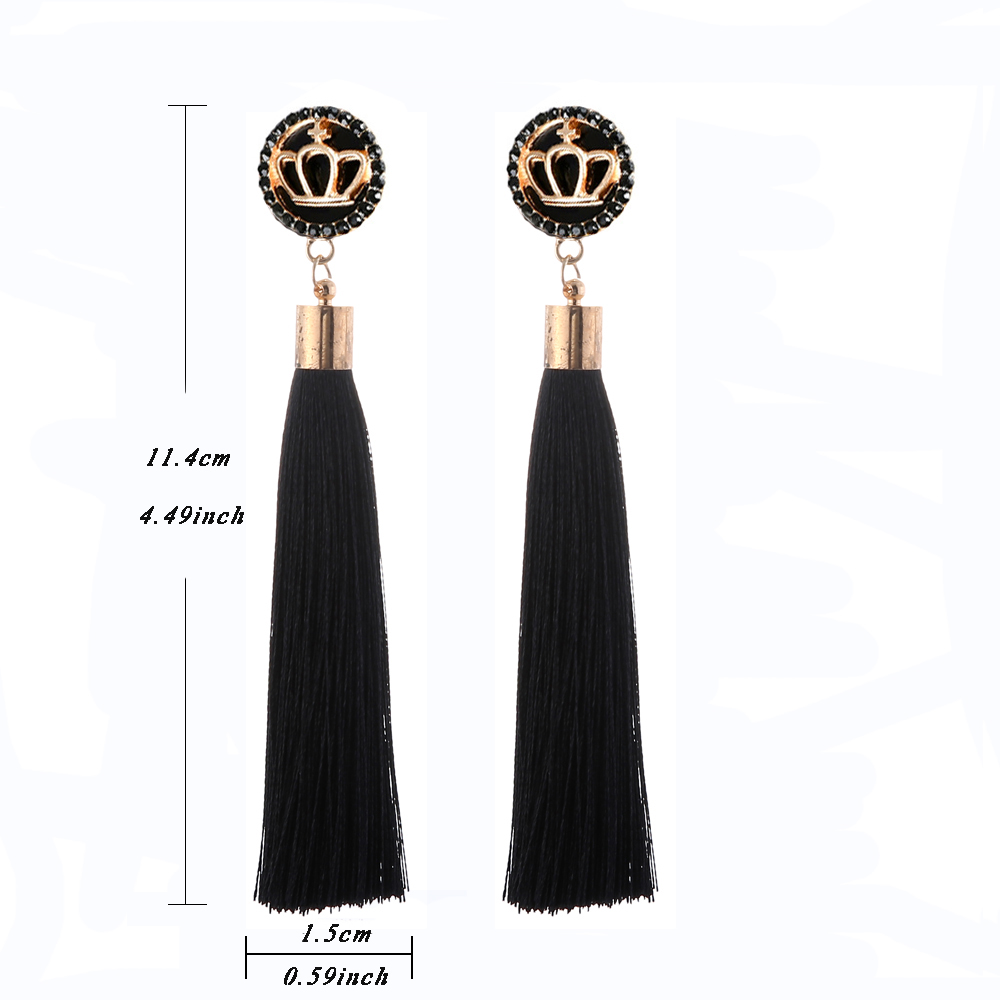Black Crystal Flower Fringe Earings Earing Geometric Long Dangle Tassel Earrings For Women 2018 Fashion Jewelry Oorbellen Gift 10