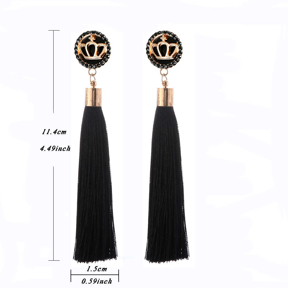 Black Crystal Flower Fringe Earings Earing Geometric Long Dangle Tassel Earrings For Women 2018 Fashion Jewelry Oorbellen Gift