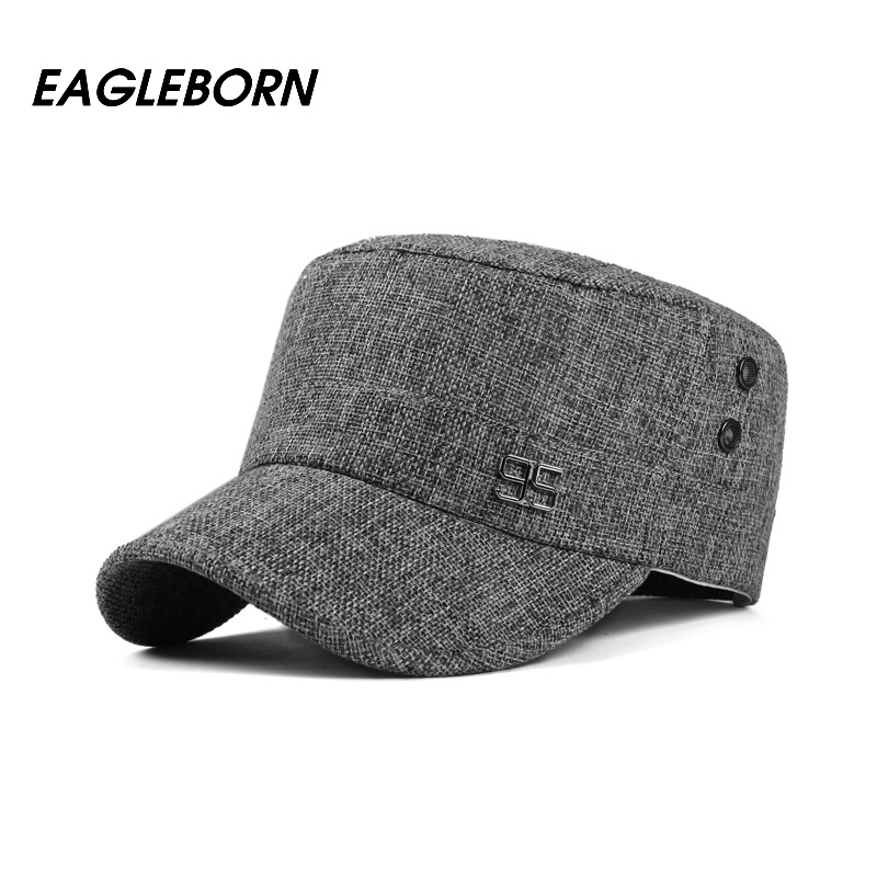2019 Classic Vintage Flat Top Mens Caps Army Hat Adjustable Fitted 95 Logo Linen  Cap Spring Summer Casual Military Hats For Men-in Military Hats from ... e5fc5381458