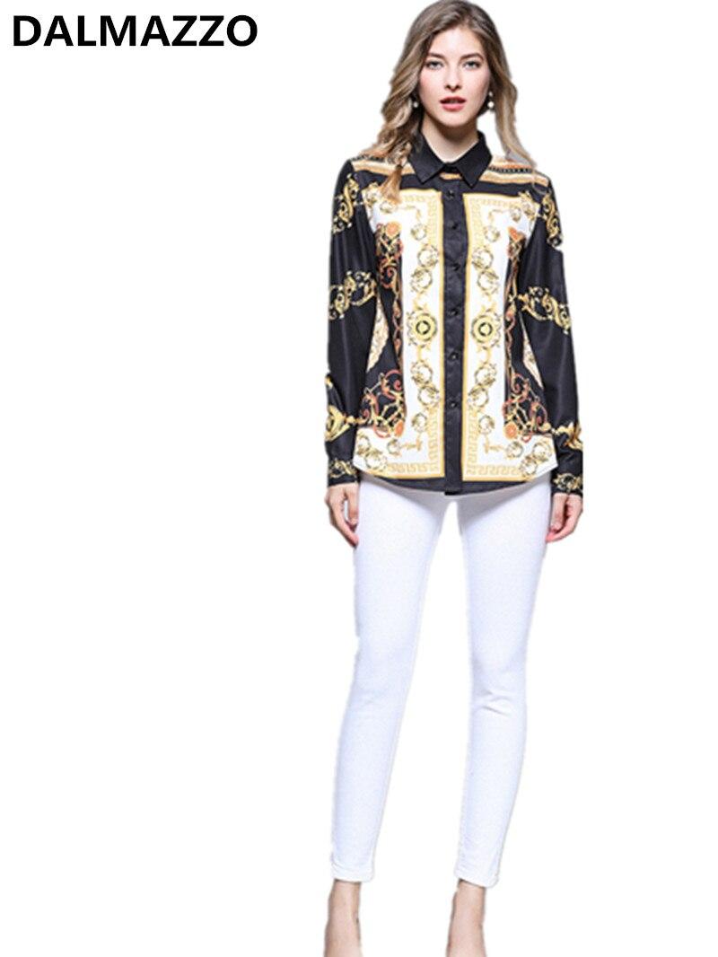 2019 Brand Designer Autumn Turn-down Collar Printed Tops Women's Shirt Blouses Fall Long Sleeve Office Runway Slim Shirts 2XL