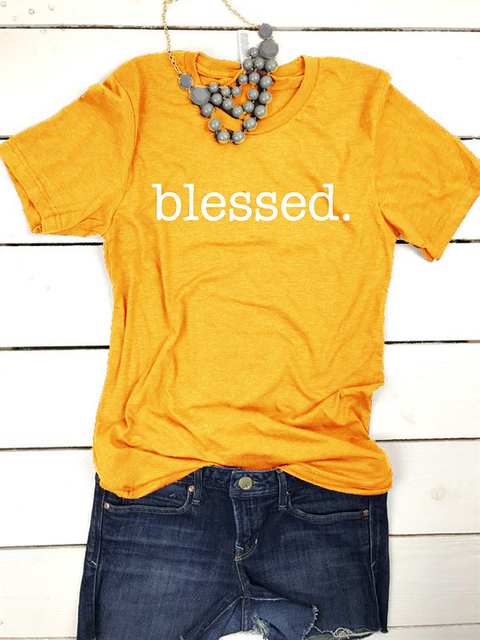 7ee11a8ab52 BLESSED yellow t-shirt women fashion funny slogan cotton tops grunge tumblr  gift Christian quote