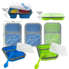 KITNEWER 2 Compartment Silicone Collapsible Lunch Box microwave lunch box for kids lunchbox food container bento