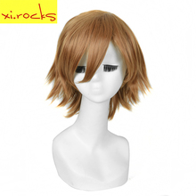 3019 Xi. Rocks Light Brown Short Realistic Cosplay Wigs Auburn Curly Synthetic Wig Heat Resistant Fibre Punk Hair