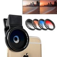 Cell Phone Lenses Universal 37mm Lens Filter Kit Gradual Grey Blue Orange Red Mobile Phone Lens Clip for iPhone Samsung Sony HTC