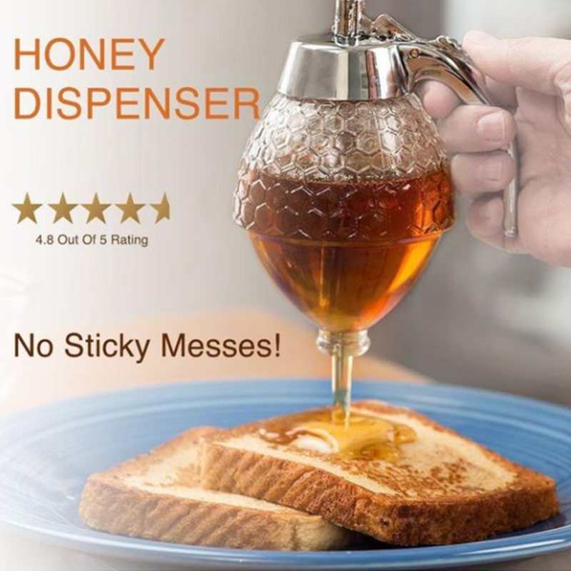 Crystal Honey Dispenser And Warmer Set Bee Drip Squeeze Bottle Honey Jar Container Storage Pot Stand Holder Syrup Bee Pot Jar 3