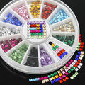 Popular 12 Colors 3D Square 3mm  Flatback Shiny Rhinestone Nail Art Salon Stickers Tips DIY  Decorations with  Wheel 67PP