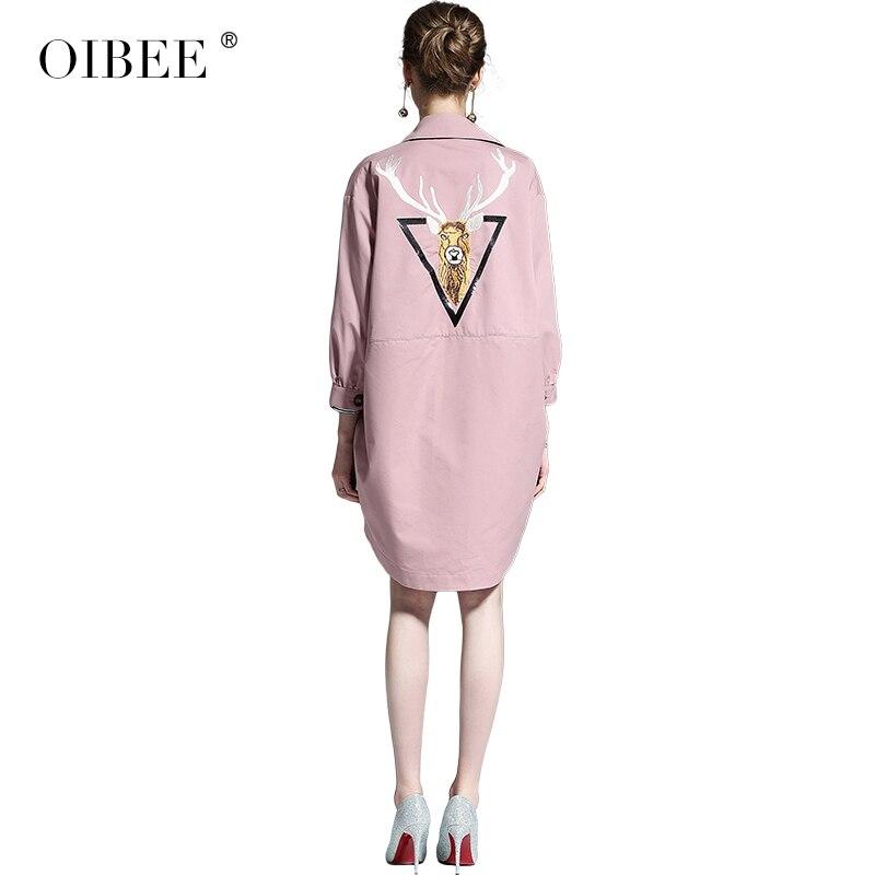 Imprimé Grande Mince De Lâche Femmes Oibee2019 Manteau Khaki Était Taille Printemps Long vent Coupe pink Nouvelles Décontracté qSX6qfnw