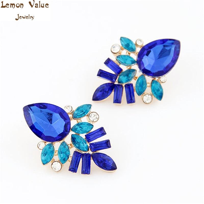 Lemon Value Bijoux Fashion Crystal Stud Earringss