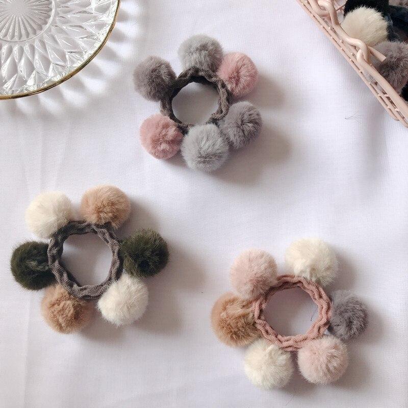 Новое поступление Для женщин девочек красочные на голову эластичная повязка для головы с нахлестом искусственные помпоны кролики мяч лента для волос повязка для волос Для женщин аксессуары для волос