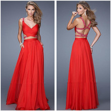 New Fashion 2015 V-Neck Spaghetti Strap Two Piece Prom Dress Backless Chiffon Sexy Vestido De Noite